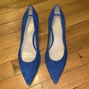 Nine West Blue Suede Kitten Heel Pointed Toe Pumps